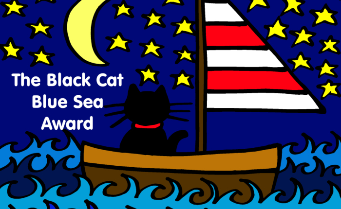 black-cat-blue-sea